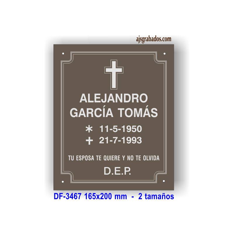 Placa difuntos aluminio anodizado bronce grabada diamante for Placas para pared