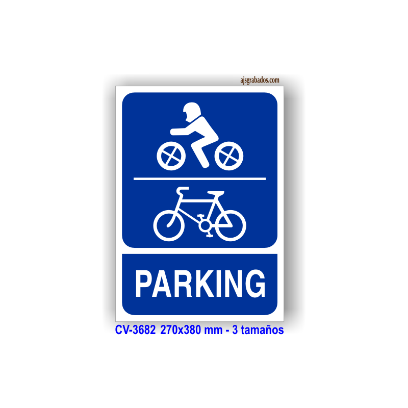 Placa r tulo texto parking motos y bicicletas con - Parking de bicicletas ...