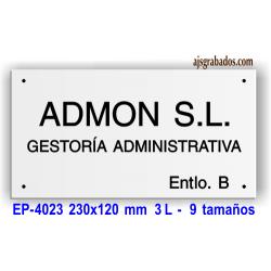 Placa grabada en aluminio