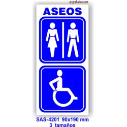 Placa señalización aseos