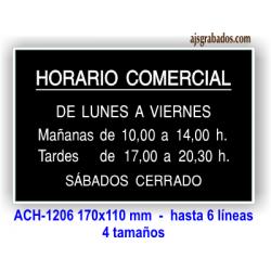 Placa con horario grabado