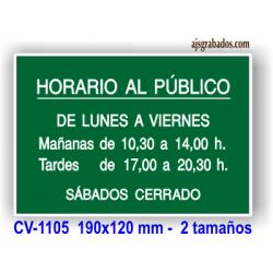 Placa horario grabado