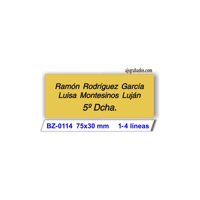 Placa buzón aluminio oro