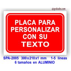 Placa para PERSONALIZAR con su texto