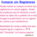 Comprar sin Registrarse