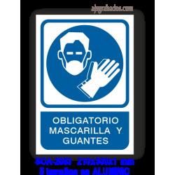 Señal OBLIGATORIO mascarilla y guantes