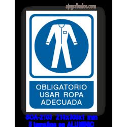 Señal OBLIGATORIO usar ropa adecuada
