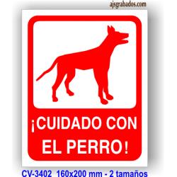 Placa precaución perros