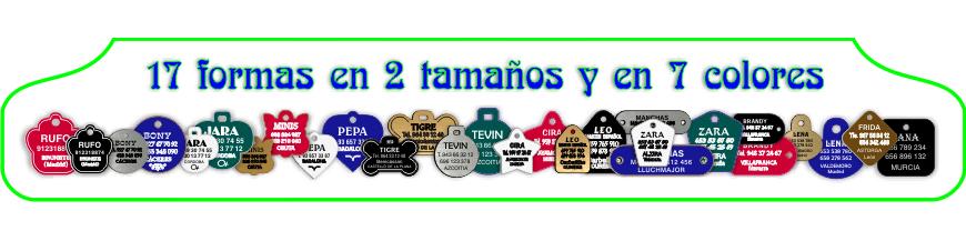 Placas grabadas para MASCOTAS, 67 modelos en diversos colores y materiales