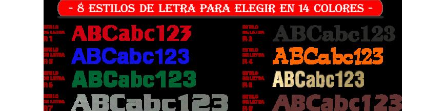 Letras y números recortados en Metacrilato y Acrílico, autoadhesivos 8 tipografías y 14 colores