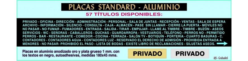- ALUMINIO placas rotuladas Standard 57 títulos