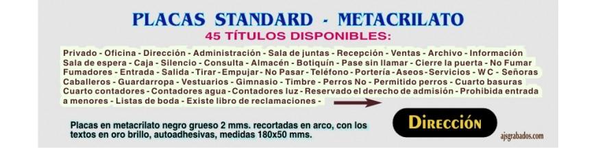 -METACRILATO placas rotuladas Standard 45 títulos