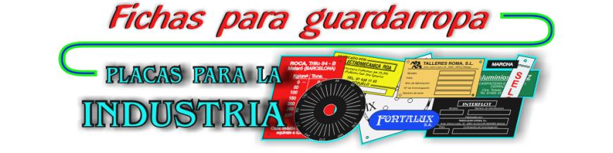 FICHAS para Guardarropa y Vestuarios, placas para Cuadros Eléctricos e Industria