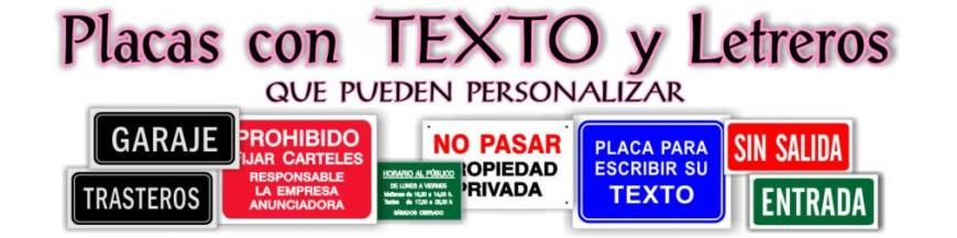 - Placas con TEXTO y Letreros grabados y rotulados que puede personalizar